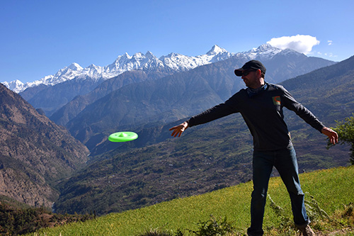 Action shot of XDISC in Nepal